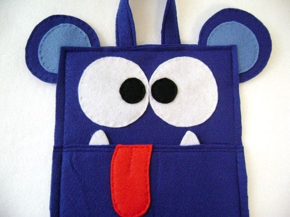 Monster Christmas Stocking, Felt Stocking, Allan the Blue Monster - Unusual Red Tongue Fangs, Gifts for Kids, Felt Monster
