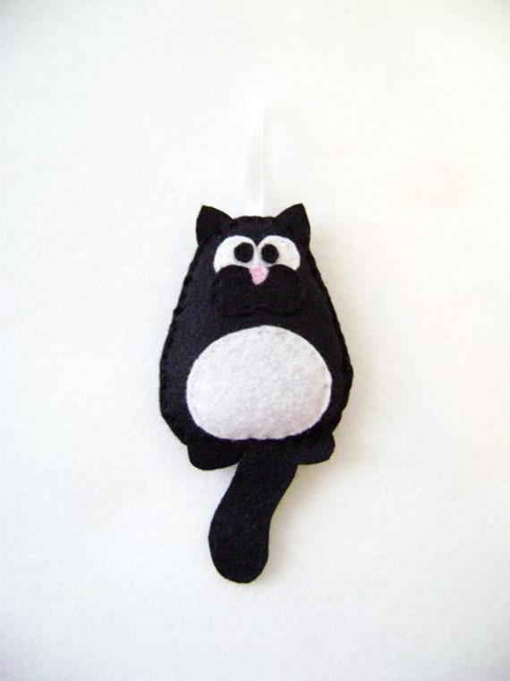 Cat Ornament, Christmas Ornament, Mr. Baxter Sillybottom the Black Cat, Felt Animal, Pet Ornament