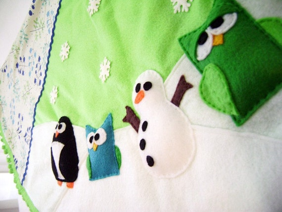 Holiday Tree Skirt - Twinkle Trees - Lime Green Retro Trees - Penguin Owl Snowman
