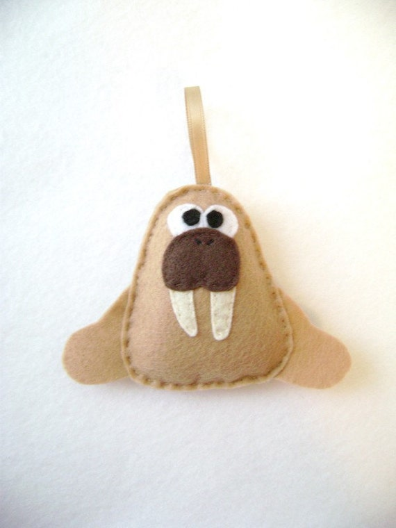 Walrus Ornament, Ornament, Christmas Ornament, Oswald the Tan Walrus - Made to order