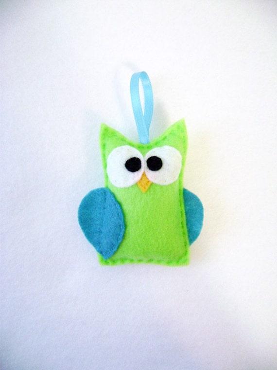 Felt Christmas Ornament - Emily the Lime Green Owl