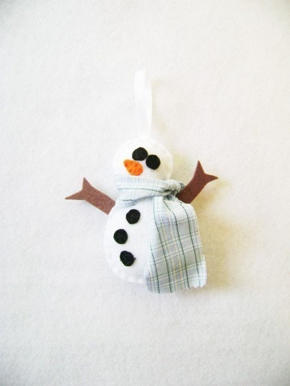 Christmas Ornament - Spencer the Snowman - Plaid Scarf