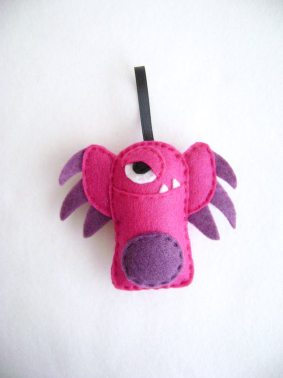 Felt Holiday Ornament - Argyle the Earwing Monster - Magenta and Purple