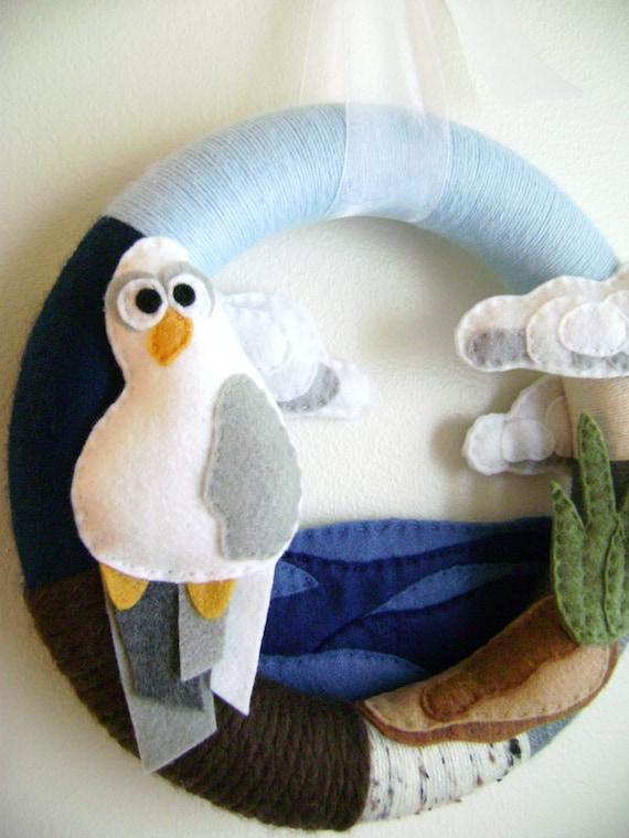 Wreath, Beach Wreath, Yarn, Beachy Keen, Seagull, Ocean, Gifts for Everyone, Background Wreath, Bird, Made to Order