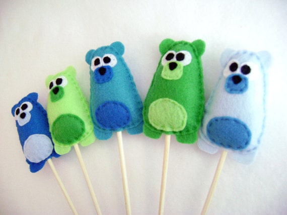 Bear Cupcake Toppers, Bashful Bears, Set of Five Party Favors - Blue Lime Green Teal, Party Decoration
