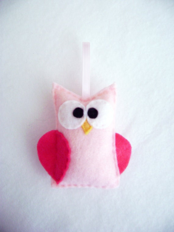 Felt Owl Ornament - Blanche the Pink Owl