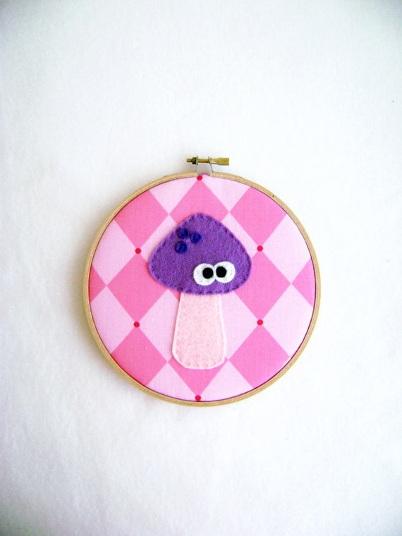 Hoop Art, Fabric Wall Art, Lullabelle the Mushroom, Pink and Purple Harlequin Diamonds, Embroidery Hoop Art, Wall Art, Nursery Decoration