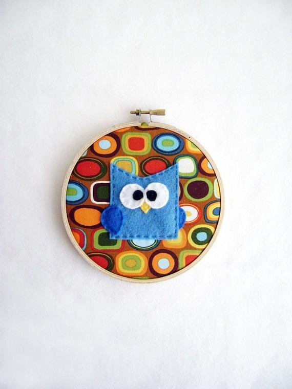 Fabric Wall Art - Professor Peacock the Baby Owl  - Earth Tones