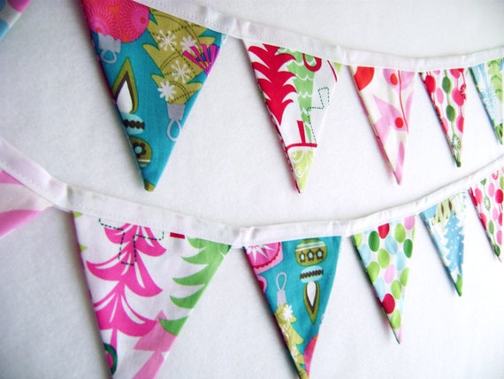 Fabric Banner Christmas Forest Mini Bunting Flags Garland