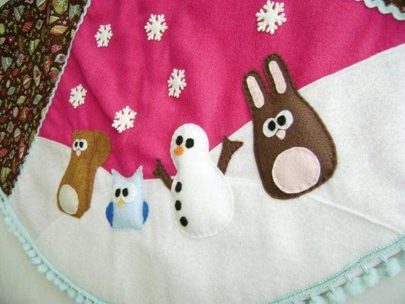 Christmas Tree Skirt - Fruitcake Fa La La - Magenta and Brown - Squirrel Snowman Owl Bunny