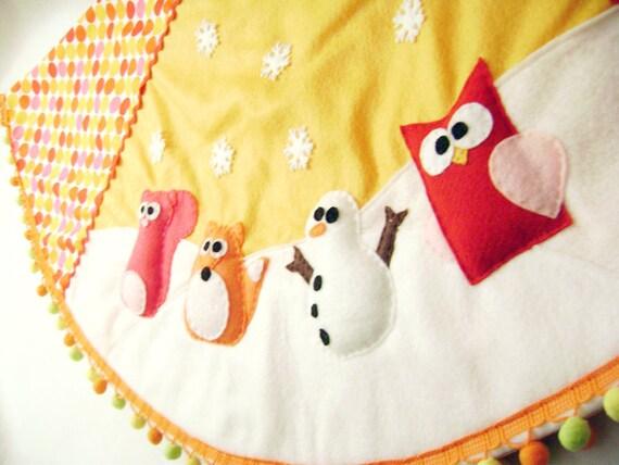 Christmas Tree Skirt - Merry Marmalade - Polka Dot Yellow