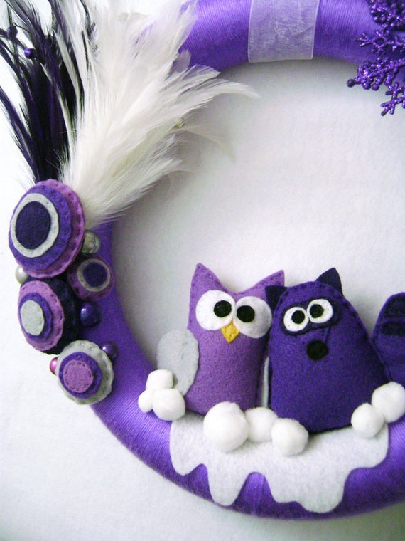 Holiday Yarn Wreath - Silent Night - Made to Order - Purple Owl and Raccoon