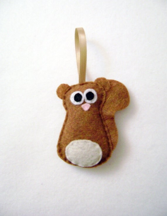 Squirrel Ornament, Christmas Ornament - Skippy the Baby Honey Squirrel, Felt Animal, Woodland Decoration, Gifts under 10