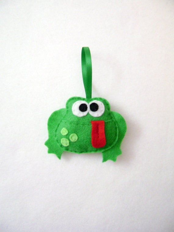 Frog Ornament, Christmas Ornament, Holiday Ornament, Dale the Green Frog - Made to Order, Felt Animal, Coworker Gift, Gift under 10