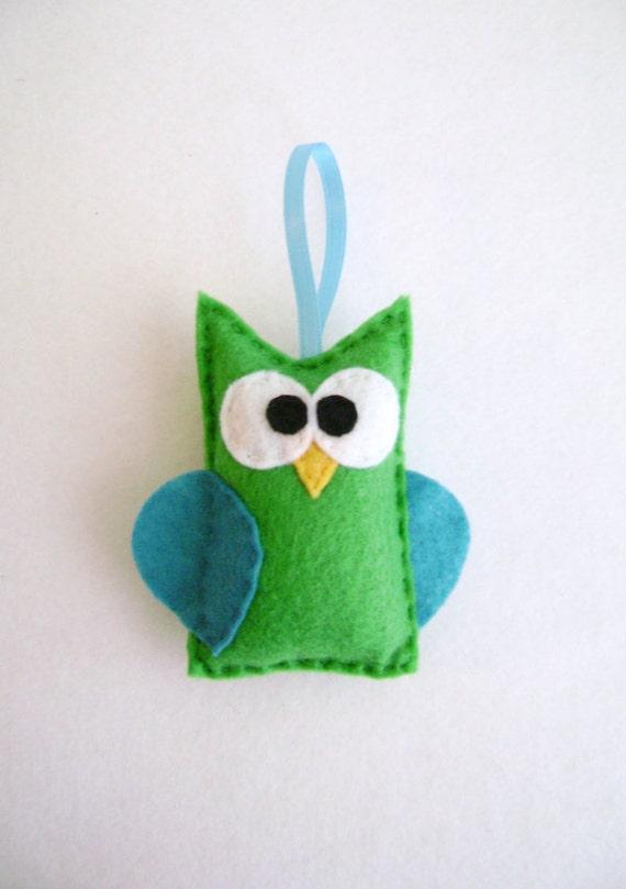 Ornament, Owl Ornament, Christmas Ornament, Beauregard the Green Owl, Stocking Stuffer