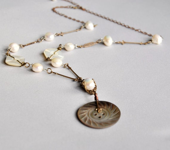 Button Necklace Antique Buttons Jewelry Pearl Neo Victorian 1800s Baroque Pearls