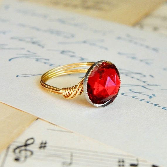Button Ring Ruby  Vintage Button Jewelry Waistcoat Jewelry Size 8.5 Ruby