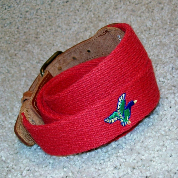 Red Webbing belt with Duck / RESERVED for Peter Riemenschneider / Real Vintage 1980s or early 1990s