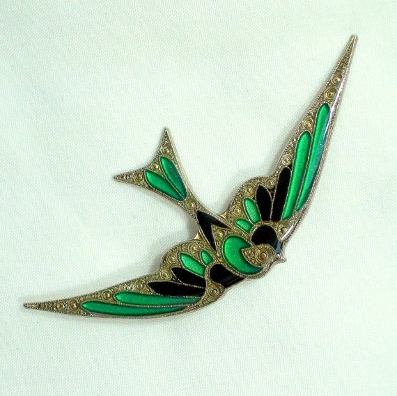 Flying Bird Green and Blue Brooch 1970s