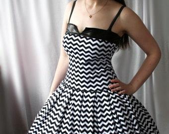 chevron zigzag retro rockabilly swing dress - Pepper - smarmyclothes