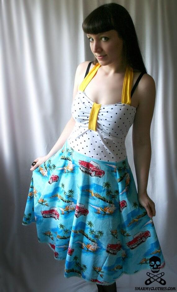 handmade 50s polka dot swing dress - BEACH BUNNY - smarmyclothes rockabilly diy