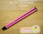 """US 17 Straight Knitting Needles -  Susan Bates 14"""" lightweight and smooth plastic (12.75mm)"""