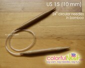 US 15 Circular Knitting Needles - 24 inch any length available bamboo with plastic tubing (12.75mm) 20 inch 16 inch