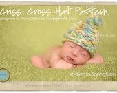 Knitting Pattern Baby Hat Photo Prop Criss-Cross Beanie Baby Girl or Boy Photo Shoot Prop or Shower Gift - The ORIGINAL by TrickyKnits