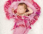 Handknit Cocoon Prop for Newborn Infant Girl Ruffled Fanback in Raspberry Cotton Candy for Professional Photographers