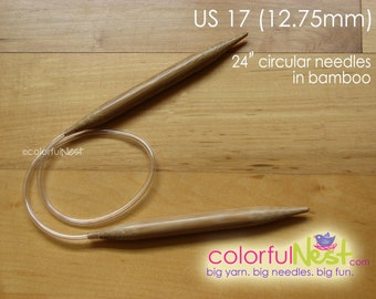 US 17 Circular Knitting Needles - TrickyKnits engraved - 24 inch - bamboo with plastic tubing (12.75mm)  any CUSTOM length available
