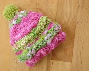 Toddler Hat Photo Prop Beanie Photography Handspun Yarn by TrickyKnits Tricky Knits