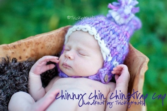 Baby Girl Hat Chinny Chin Chinstrap Stocking Tail Hat Chunky Newborn Baby Boy Photo Prop
