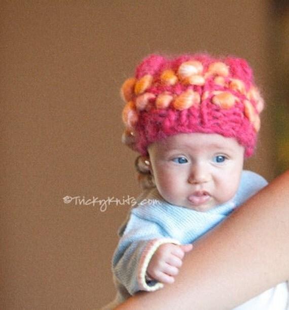 KNITTING KIT - Baby Girl Hat Chunky Newborn Toddler Photo Prop Sweet Dreams in Hot Pink and Mango original designer