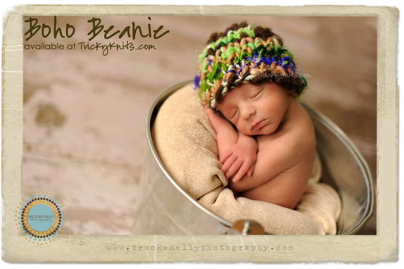 Baby Boy Hat Boho Chunky Beanie Photo Prop for Newborn Photography or Shower Gift by TrickyKnits Tricky Knits