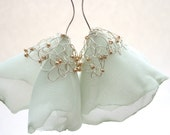 Soft pastel green earrings - Flower Blossoms in fiber and knitted wire - long dangle