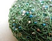 Green Constellation - Knitted Wire Pendant with and Glass Myuki seed beads - chain included