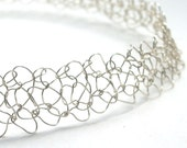 Simple and Intricate - Elegant knitted wire necklace or choker - silver or gold