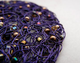 Purple Constellation - Knitted Wire Pendant with Gold and Myuki seed beads - chain included