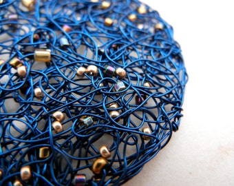 Blue Constellation - Knitted Wire Pendant with Gold and Myuki seed beads - chain included