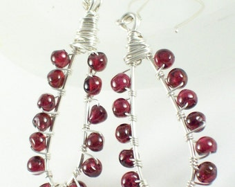Sterling Silver and Garnet Wire Wrapped Earrings