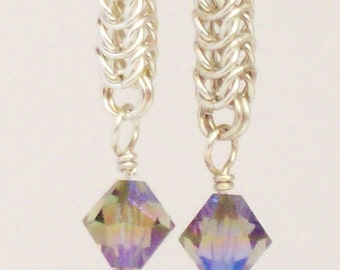 Sterling Silver Queens Chain Micro Maille Earrings