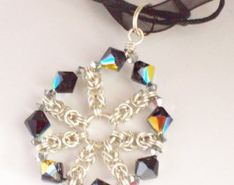 Sterling Silver Byzantine Chainmaille Pendant