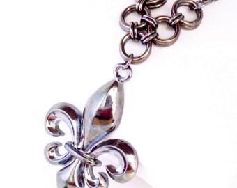Gunmetal Fleur De Lis Chain and Chainmaille Necklace