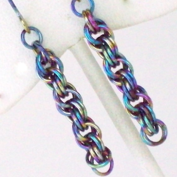 Rainbow Niobium Chainmaille Earrings - Double Spiral Weave