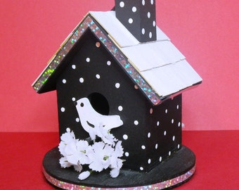 Bird House Mini BLACK POLKA DOT 225