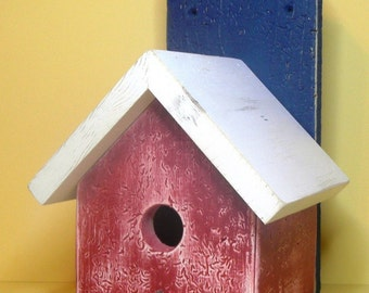 Bird House Rustic Red White Blue 261