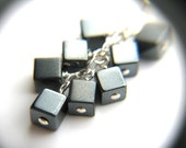 Hematite Earrings . Anti Anxiety Jewelry . Punk Rock Jewelry . Metallic Cube Earrings . Long Silver Dangle Earrings - Ferric Collection