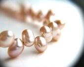 Pink Bridal Bracelet . Blush Pink Wedding Jewelry . Pink Freshwater Pearl Bracelet . Dainty Beaded Bracelet - Emma Collection
