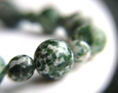 Green Gemtone Necklace Agate . Green Agate Necklace Beaded . Short Bead Necklace . Earthy Jewelry - Juneau Collection . Galaxy Necklace
