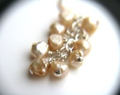 Champagne Pearl Earrings . Freshwater Pearl Bridal Jewelry . Vanilla Freshwater Pearl Cluster Earrings Wire Wrapped - Plath Collection